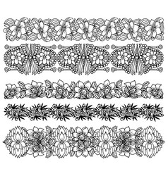 brush border set with flower design vector image vector image