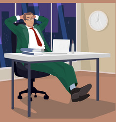 Businessman in evening relaxed in workplace vector