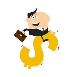 Businessman Riding on a Dollar Sign vector image vector image