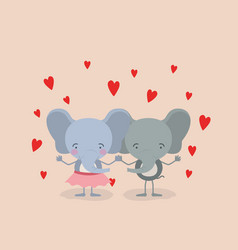 Color background with couple of elephants holding vector