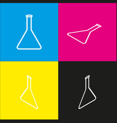 Conical flask sign white icon with vector