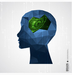 creative brain concept background with triangular vector image