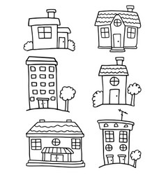 Doodle of house set hand draw collection vector