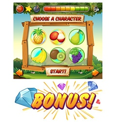 Game template with fresh fruit characters vector