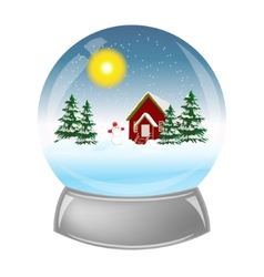 Glass ball with the installation of winter inside vector