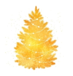 Gold silhouette of Christmas tree vector image vector image