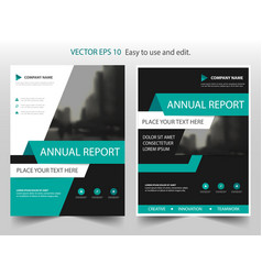 Green abstract annual report brochure design vector