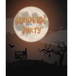 Halloween Party Poster with Huge Moon Bat Caves vector image