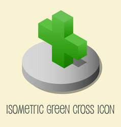 Heath icon isometric style green cross vector