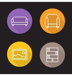 Interior flat linear icons set vector image vector image