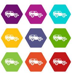 Jeep icon set color hexahedron vector