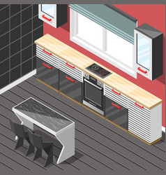 Kitchen futuristic interior isometric background vector