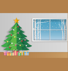 Merry christmas and winter season greeting card vector