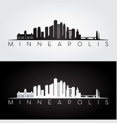 minneapolis skyline silhouette vector image