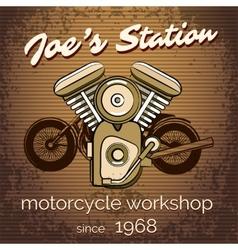 motorcycle repair shop poster vector image vector image