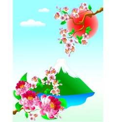 Mount Fuji and flowers vector image vector image