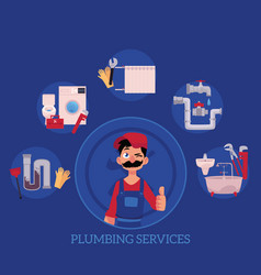 plumber concept posters set vector image vector image