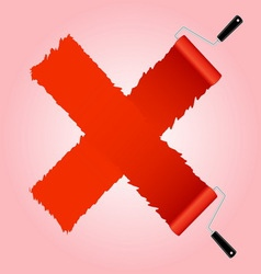 Red cross symbol from paint roller brush vector