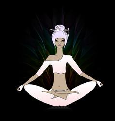 Relaxing pink hair girl in yoga vector