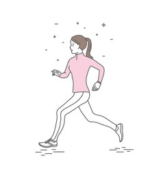 run woman in line art style vector image