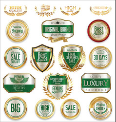 sale retro vintage golden badges and labels 05 vector image