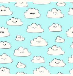 seamless pattern with clouds happy spring vector image vector image