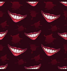 Seamless pattern with scary vampires smiles vector