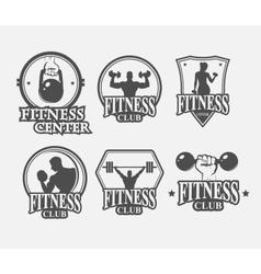 Set of monochrome fitnes emblem vector