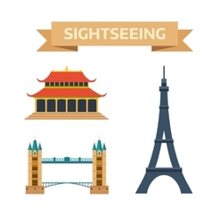 Sightseeing eiffel tower Paris London bridge vector image