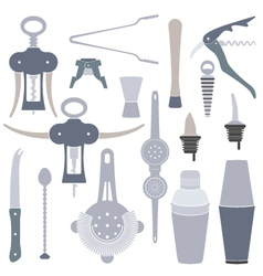 Solid colors barmen equipment set vector