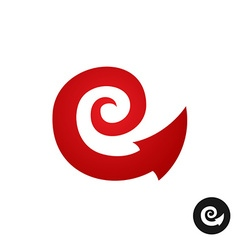 Spiral tribal element symbol with arrow head tail vector
