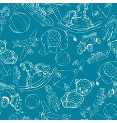 Toys sketch blue seamless pattern vector