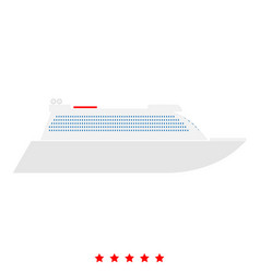 transatlantic cruise liner icon flat style vector image