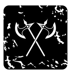 Two battle axes icon grunge style vector
