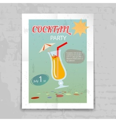 Vintage cocktail party invitation poster vector