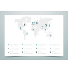 World map dotted with markers vector