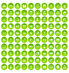 100 tools icons set green circle vector
