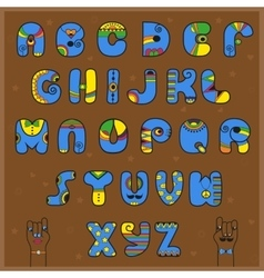Artistic blue and yellow alphabet vector