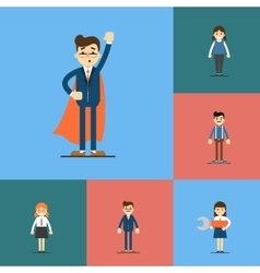 Smiling people cartoon characters set vector image