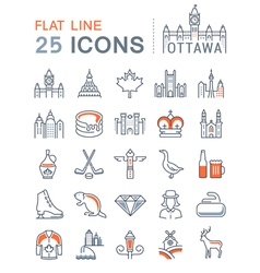 Ottawa Line Icons 4 vector image