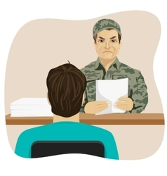 Army conscript during interview vector