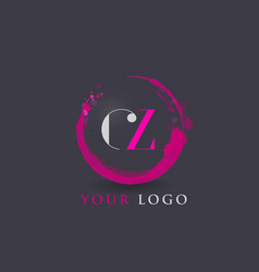 Cz letter logo circular purple splash brush vector