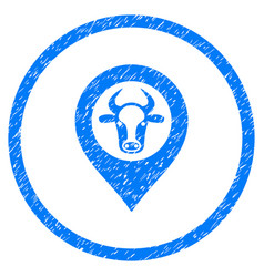 Cow map marker rounded grainy icon vector