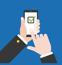 Finger touching smart phone screen with check list vector