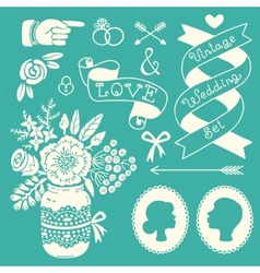 Wedding set of vintage design elements vector