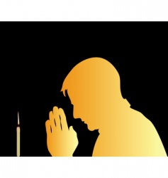 prayer and candle background vector image