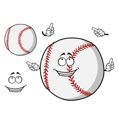 Happy cartoon baseball ball pointing its fingers vector