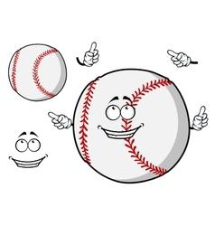 Happy cartoon baseball ball pointing its fingers vector image