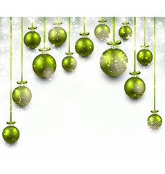 Arc background with green christmas balls vector