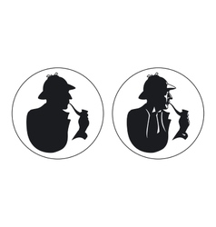 Detective pipe smoker silhouette sherlock holmes vector